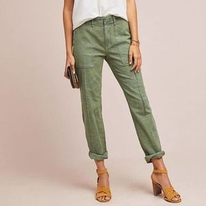 by Anthroplogie Moss - Olive Green Leaf Print Utility Wanderer Pant - Size 32P